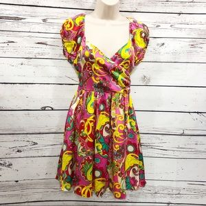 Betsey Johnson Retro Silk Paisley Floral Dress